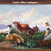 19th Century Italian Oil Painting Antonio Milone Animals and Maiden