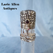 Antique crystal sterling coiling snake scent bottle perfume bottle
