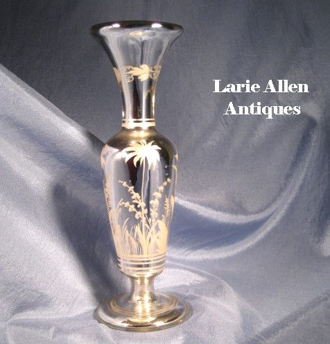 Antique Bohemian Mercury Glass Vase