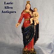 Antique Madonna with Child Handcarved Santos