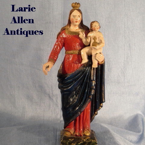 Antique Madonna with Child Handcarved Santos