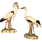 Pair French porcelain egrets Bourdois & Achille Bloch