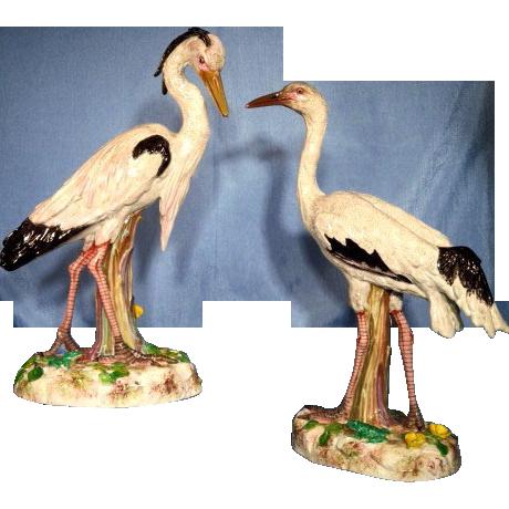 Pair French porcelain egrets Bourdois & Achille Bloch