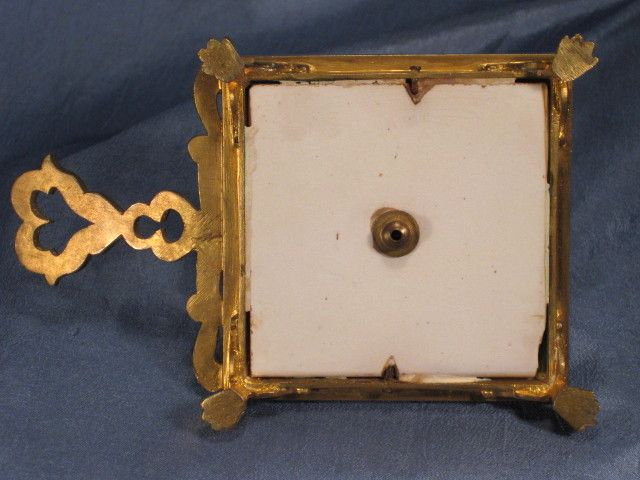 French bronze chamber stick with handpainted tile from for French chamber