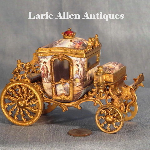 On Hold.  Antique Viennese Austrian Enamel Miniature Carriage