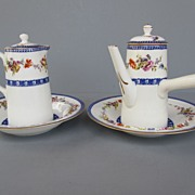 Antique Royal Doulton Demitasse Tea/Coffee Pot, Hot Water Pitcher and 2 Underplates