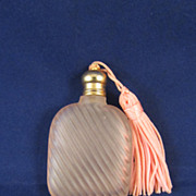 Vintage French Miniature Pink Opaline Glass Perfume Bottle - c. 1910