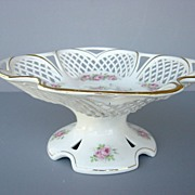 Antique Max Roesler Porcelain Reticulated Compote - c. 1895