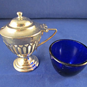English Silverplated Mustard Pot With Cobalt Liner