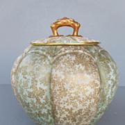 Antique Royal Worcester Melon Shaped Biscuit Barrel - dated 1888