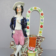 "Antique Staffordshire Figure Flatback - ""Gardener"" - c. 1860"