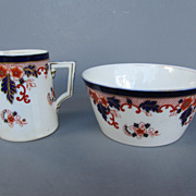 English Imari Sugar Bowl and Creamer - c. 1880