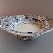 """Antique Davenport Footed Bowl - Dated 1850 - """"Floresque"""" Pattern"""