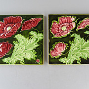 Antique Pair of  English Art Nouveau Majolica Tiles - c. 1900