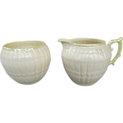 "Vintage Belleek ""Limpet"" Pattern Creamer and Sugar Bowl - c. 1980-1992"