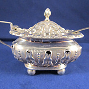 Antique English Sterling Silver Mustard Pot With Spoon - Dated 1903