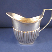 Antique English Sterling Silver Reeded Creamer - London 1890