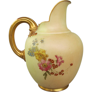 Antique Royal Worcester Flatback Jug - Blush Ivory - No. 1094 - Dated 1896