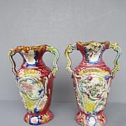 Antique Staffordshire Majolica Vases - c. 1900
