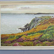 Vintage:Oil on Artist Board:Primitive:Seascape:South Devon:England:Albert Hawkins:August 1971
