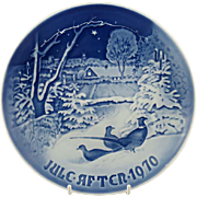 "1970 Bing and Grondahl Christmas Plate ""Pheasants in the Snow for Christmas"" B&G Denmark"
