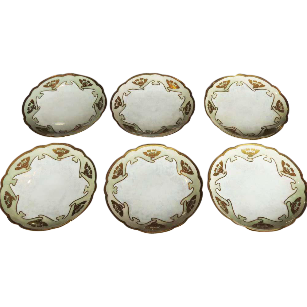6 Gorgeous Hand Painted Art Nouveau Plates with Poppies Limoges France 1907