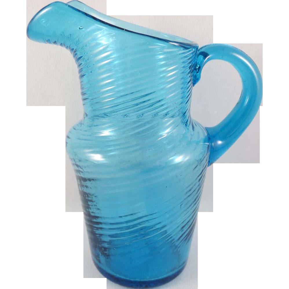 Early Aqua Blue Blown Swirl Pitcher c.1850 5.5 in.