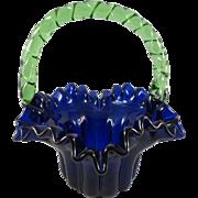 Small Cobalt Bride's Basket/Green Rope Handle c. 1860