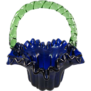Small Cobalt Bride's Basket/Green Rope Handle c. 1860