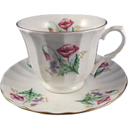 Vintage Cup & Saucer, Fine Bone China, Crown Trent, Poppies