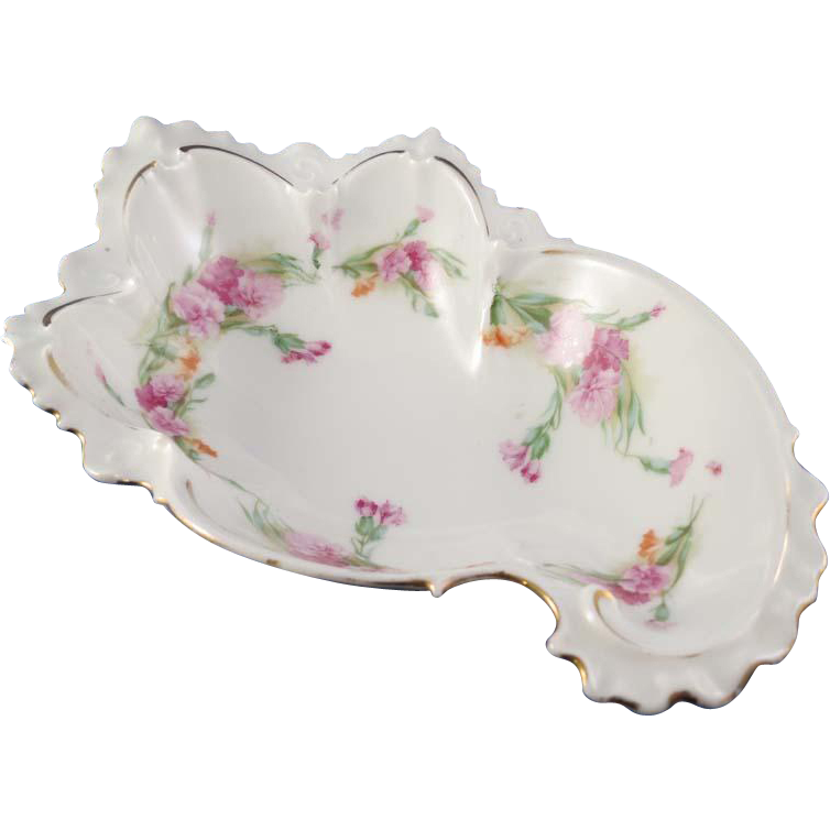 Art Nouveau Beautifully Shaped Small Floral Bowl 7 in.