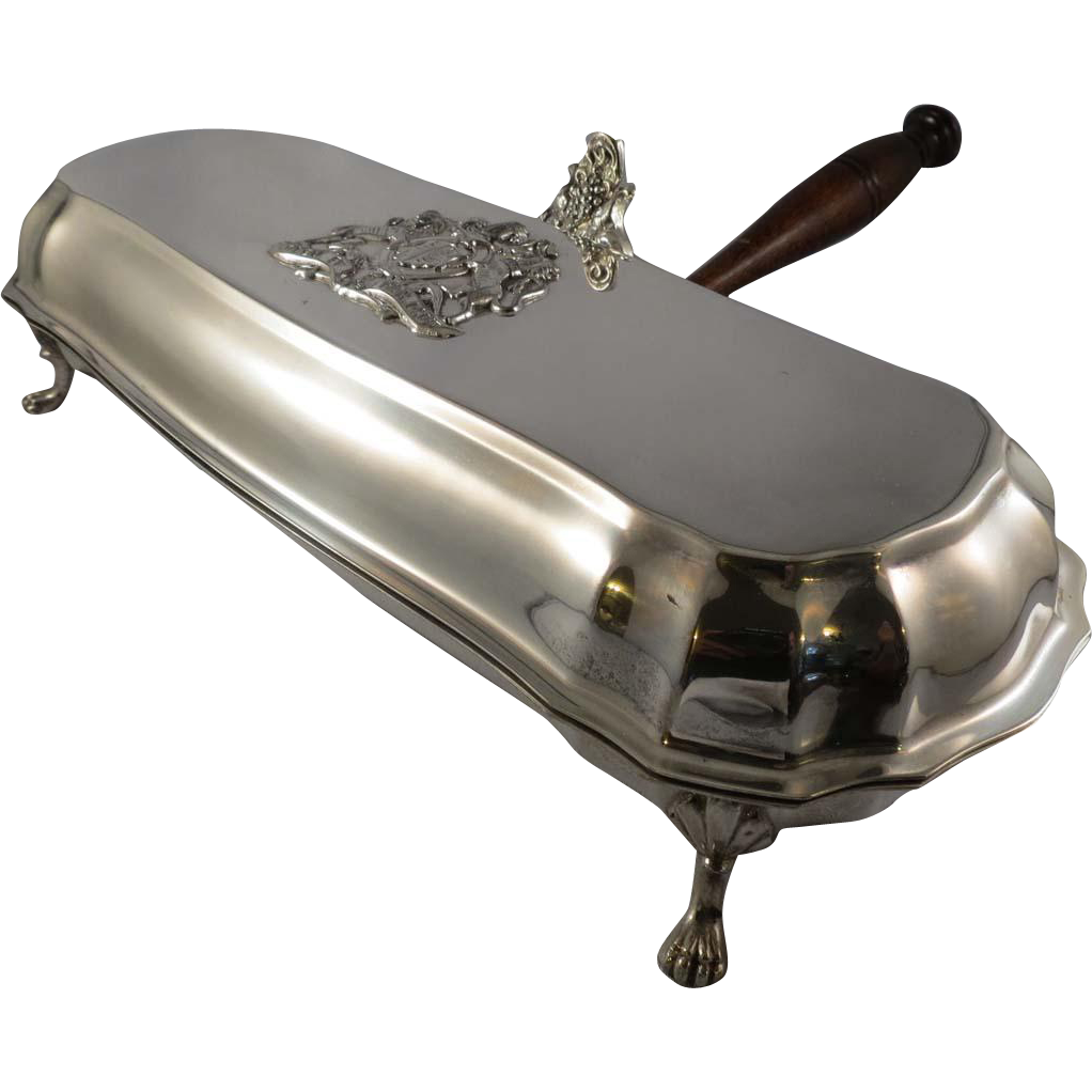 Silent Butler, Silver Plate, Chippendale Feet, Heraldic Crest
