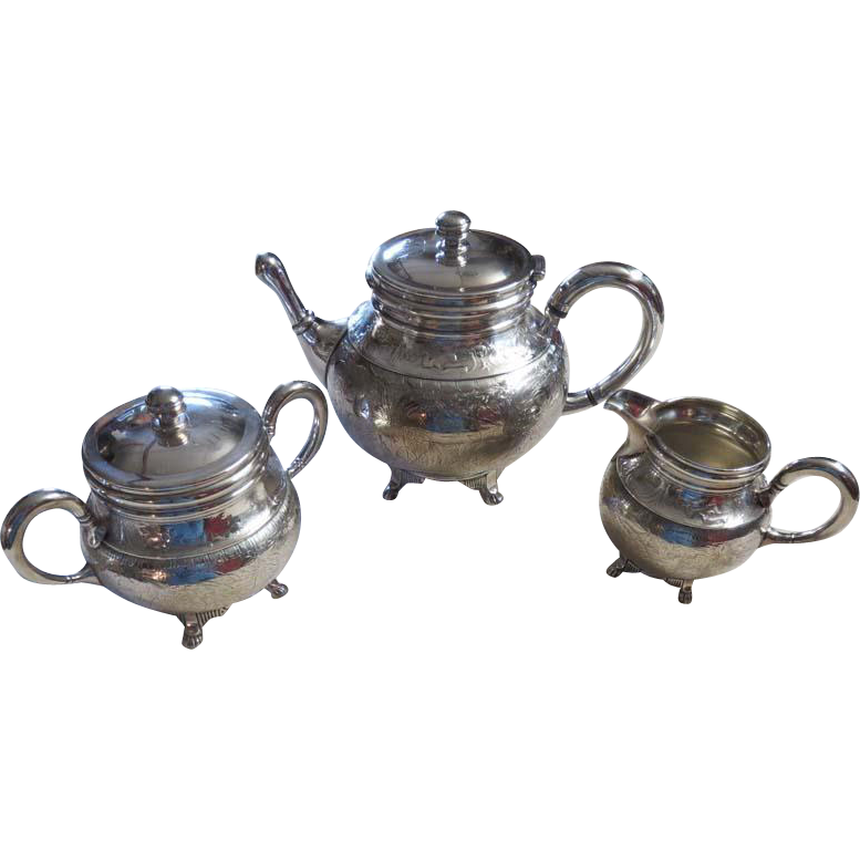 Silver Plated 3-Piece Tea Set, Wilcox Silver Plate Co. Founded 1865 Meriden, CT