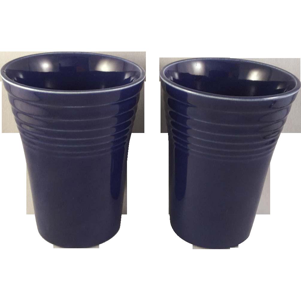 Vintage Fiesta Ware Water Tumblers Original Cobalt, Lot of 2 (1937 – 1946)