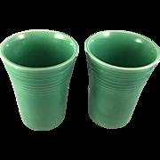 Vintage Fiesta Ware Water Tumblers Original Green, Lot of 2 (1937 – 1946)