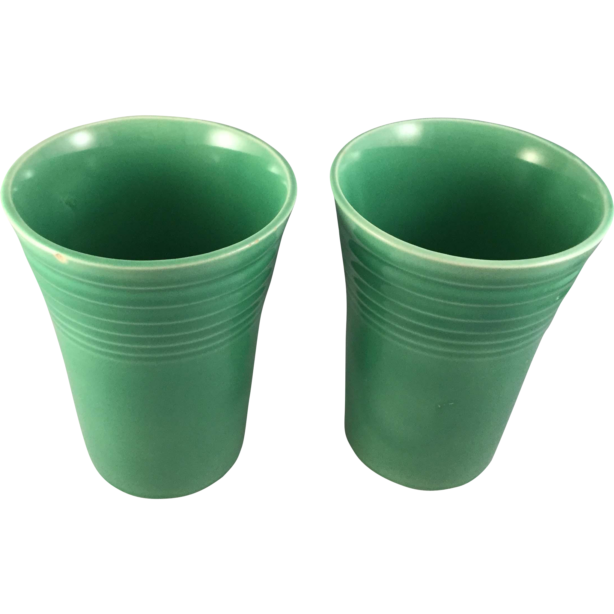 Vintage Fiesta Ware Water Tumblers Original Green, Lot of 2 (1937 – 1946)