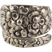 Spoon Ring Sterling Silver High Relief Floral Design