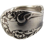 Spoon Ring Sterling Silver Floral Design