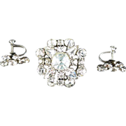 Vintage Clear Rhinestone Pin and Screw-Post Earrings, Austria