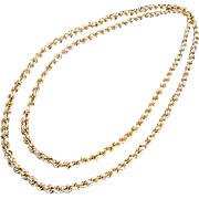Vintage Monet Gold Tone Twist Chain Necklace 52 in.