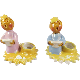 Vintage Czechoslovakia Choir Boy & Girl Candle Holders