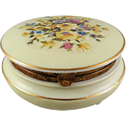 Vintage Round Porcelain Powder Dresser Vanity Box Colorful Floral Decorated