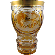 Bohemian Moser Amber Cut to Clear Goblet Etched Stag Deer