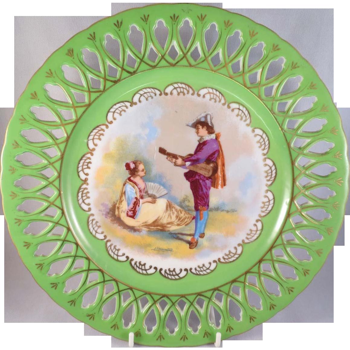 "French Porcelain Cabinet Plate ""Louis Phillipe Motif"""