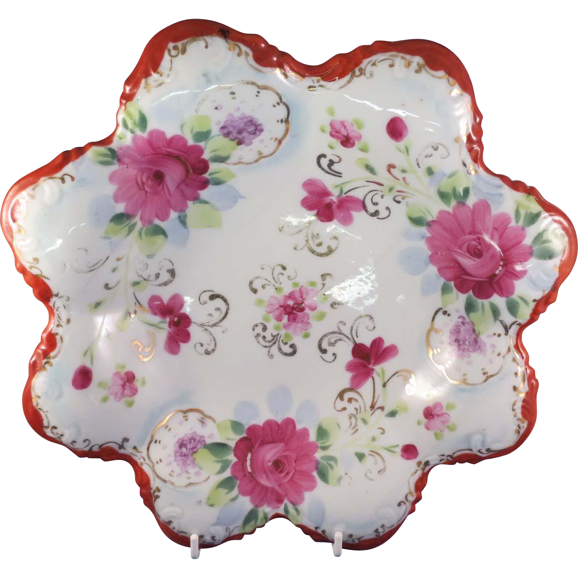 Vintage Bowl with Hand-Painted Flowers