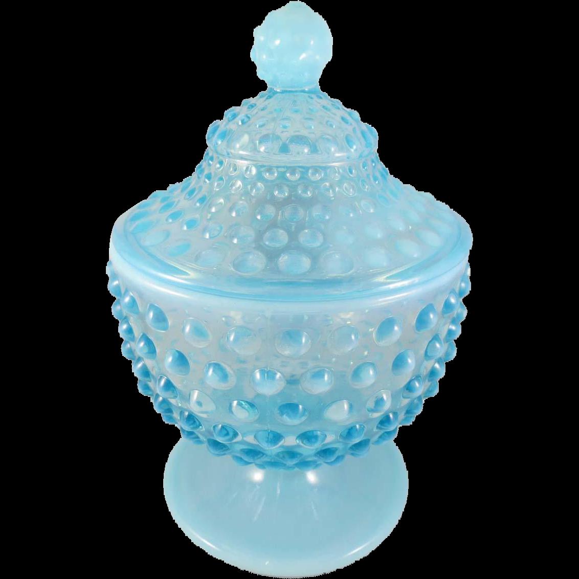 Vintage Fenton Hobnail Blue Opalescent Footed Candy Jar/Lid