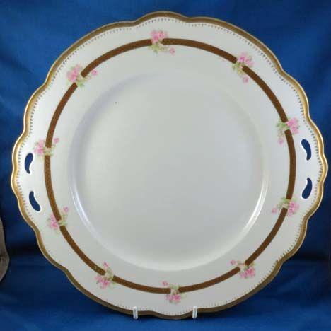 Large Porcelain Cake Plate, Pierced handles & Roses