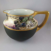 Antique Porcelain Pitcher, Hand-Painted and Signed, Blackberries, Vienna, Austria c. 1900