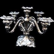 5-Light Quadruple Plate Silver on Copper Candelabrum Art Nouveau/Deco Style