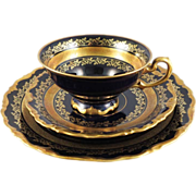 Gold Encrusted Bavaria Echt Cobalt Cup, Saucer, and Plate